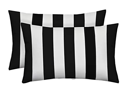 Set of 2 Indoor Outdoor Decorative Lumbar Rectangle Pillows – Black and White Stripe