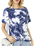 Simplee Women's Tie Dye T Shirts Twist Knot Tunics Tops Blouses Casual Tee