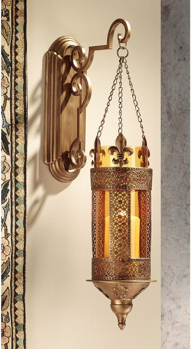 Medieval Castle Hanging Pendant Light Wall Sconce Candle Holder Lantern Com