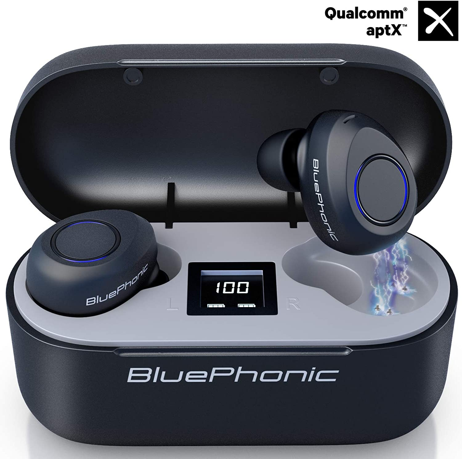 Bluephonic True Wireless Earbuds, CVC 8.0 Noise Reduction, Bluetooth 5.0 aptX HD Sound in Ear Totally Wireless Earphones, 32Hr Play Auto Pairing IPX7 Sweatproof Sport Headset, Built in Mic for Calls
