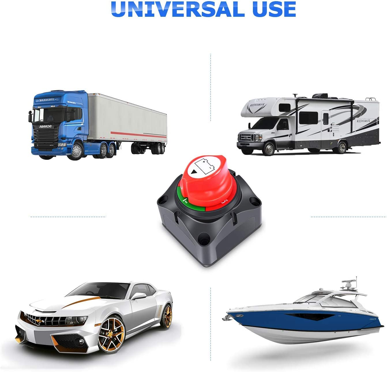 Gebildet 12V//24V 300A Battery Isolator Disconnect Switch,Battery Cut Off Switch For RV Yacht Boat Truck Bus Motorcycle Car