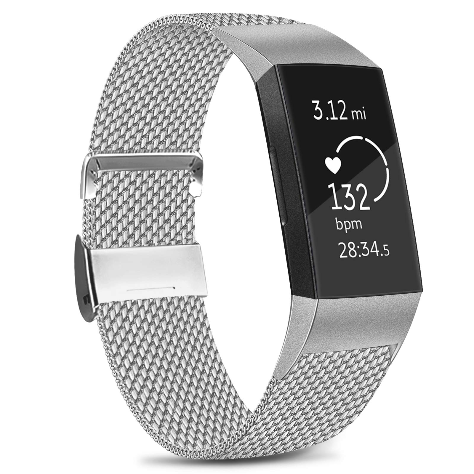 Amzpas Compatible with Fitbit Charge 3 Strap/Fitbit Charge 4 Strap, Adjustable Mesh Loop Stainless Steel Metal Strap Wristband with Unique Magnet Lock for Fitbit Charge 3/Charge 4