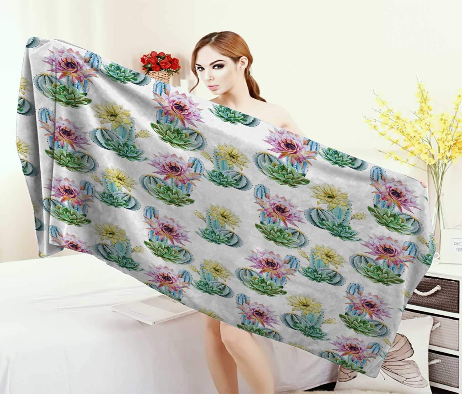 Anniutwo Cactus,Bath Towel,Hot Desert in South Mexican Land Vintage Plant Cactus Flowers Spikes,Bathroom Towels,Pink Green Blue Size: W 31.5'' x L 63''