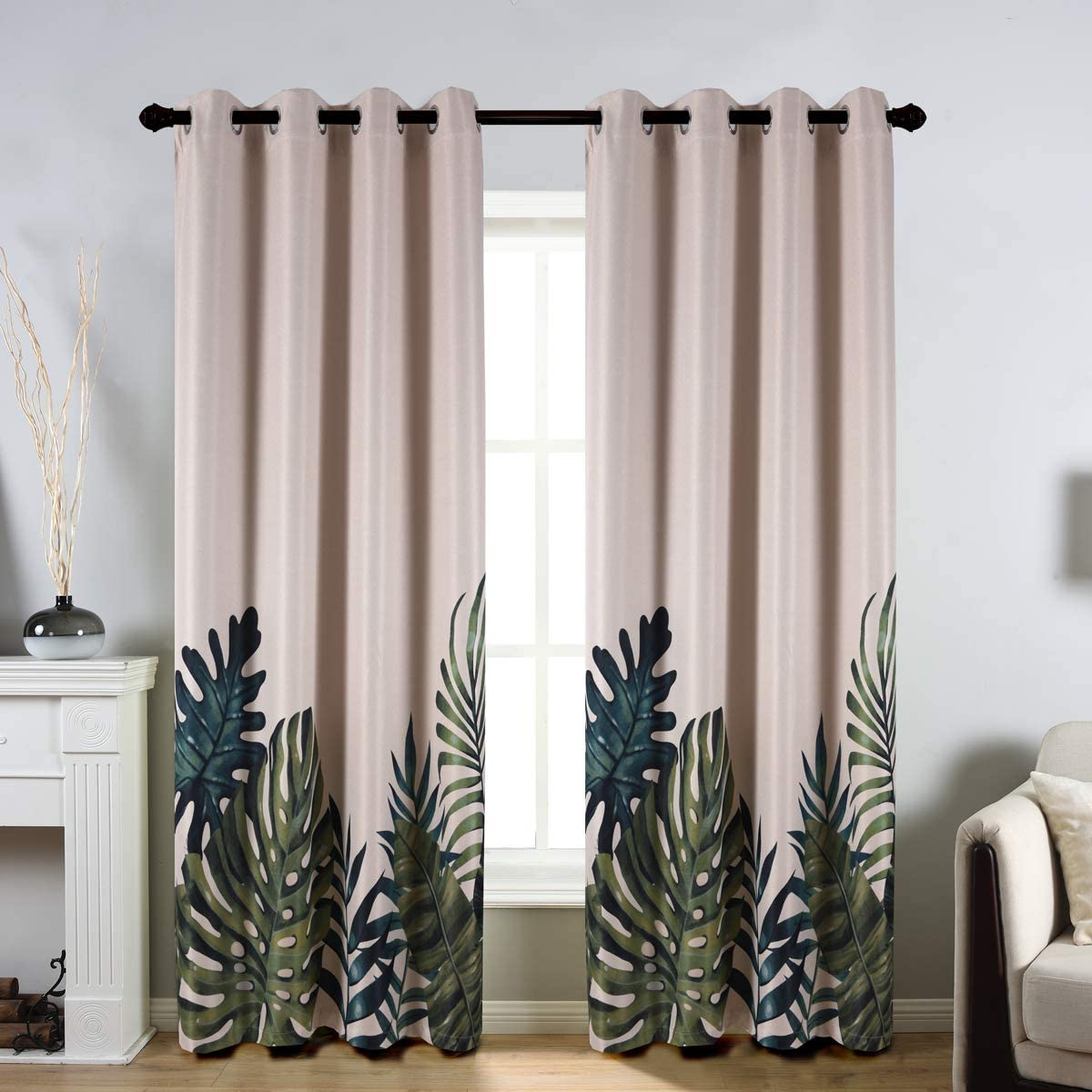 """Taisier Home Palm Leaves Print Exotic Style Nature Artwork,2 Panels Fashion Grommet Top Thermal Insulated Room Darkening Curtains,Printing Curtain Leaves(84"""" Print Curtain)"""