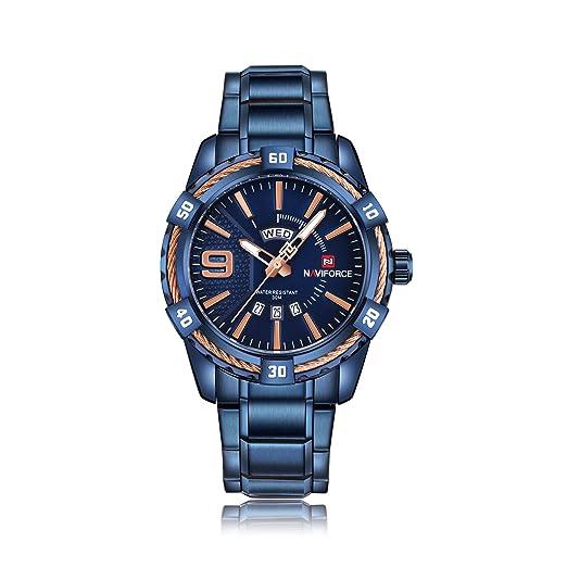 Naviforce Reloj de Pulsera de Acero Inoxidable para Hombre, Moderno, Casual, Deportivo,