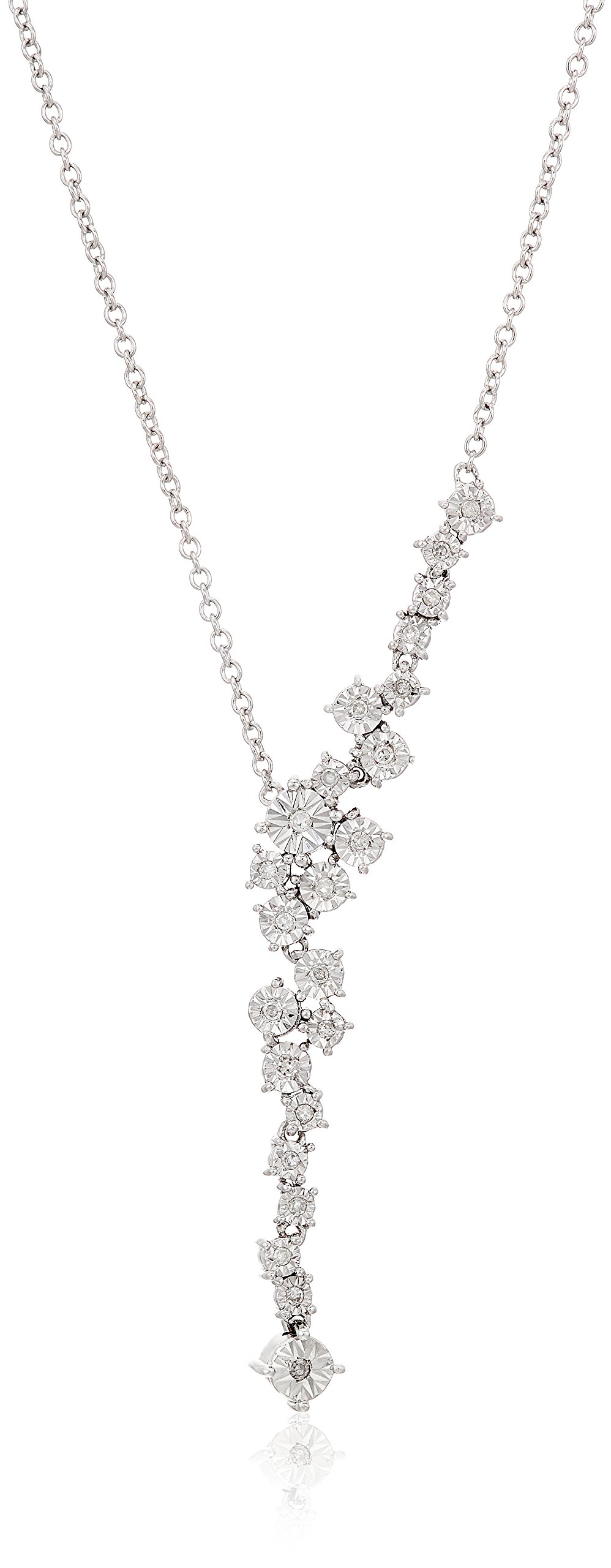 Sterling Silver Starburst Diamond Y-Shaped Necklace (1/10 cttw, I-J Color, I2-I3 Clarity), 18''