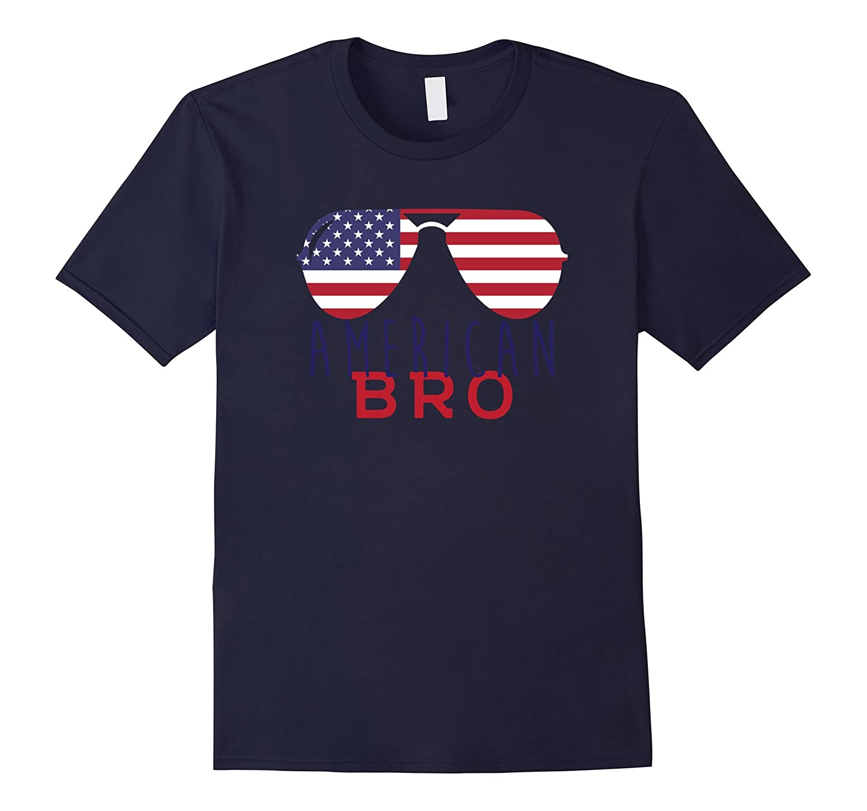 American Bro Patriotic USA American Flag Sunglasses T-Shirt-PL