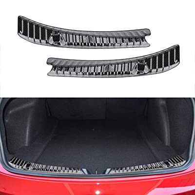 BASENOR Tesla Model 3 Rear Trunk Bumper Protector Guard Stainless Steel Carbon Fiber Gen 2: Automotive