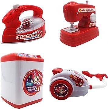 HorBous Lavadora Máquina de Coser de vacío Plancha de Hierro Imitación Kit de Juguete Electrodomésticos para niños 4 Piezas: Amazon.es: Juguetes y juegos