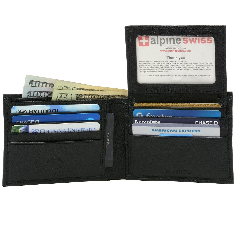 b06b93eda98 alpine swiss Men s Leather Bifold Wallet Removable Flip Up ID Window ...