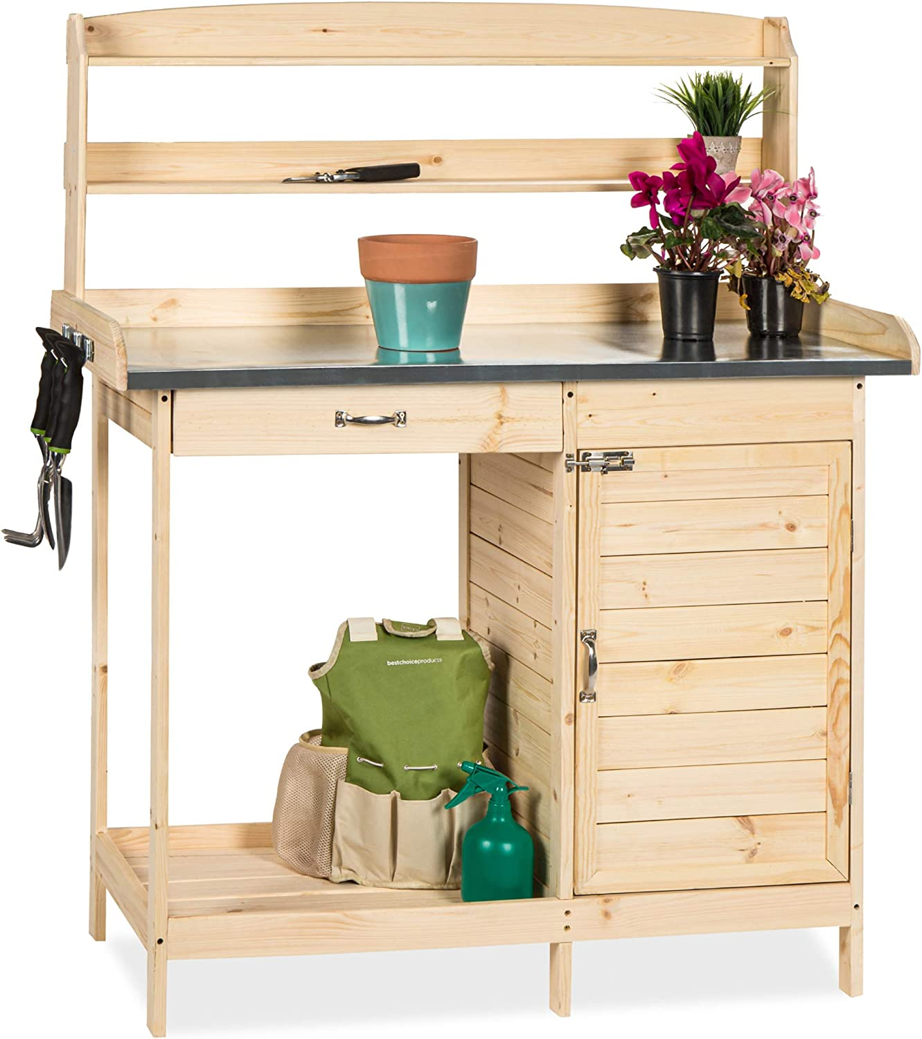 Best Choice Products Outdoor Garden Wooden Potting Bench Work Station w/Metal Tabletop, Cabinet, Sliding Drawer, and Large Bottom Shelf, Natural