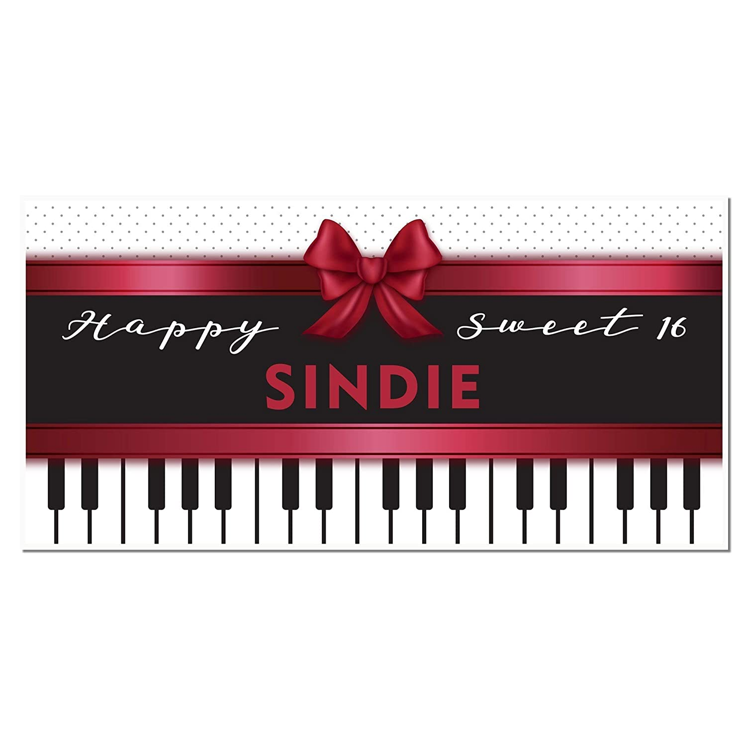 Amazon Com Piano Sweet Sixteen 16 Birthday Banner Personalized Party Backdrop Handmade