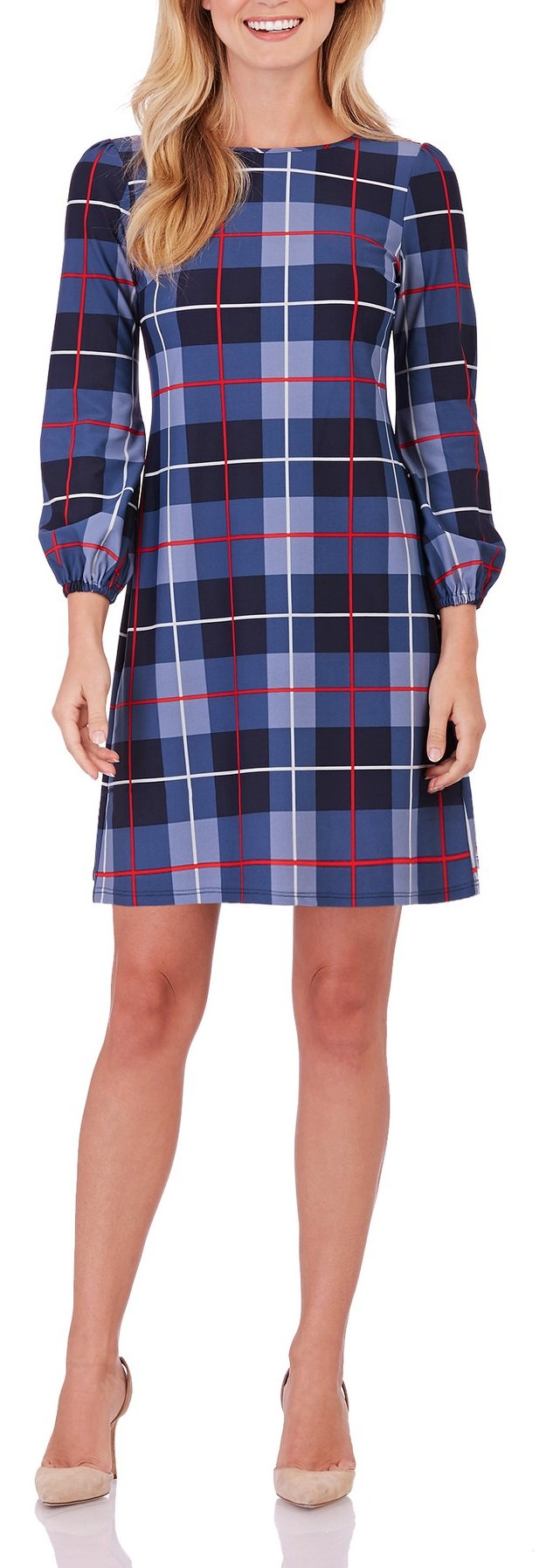 Jude Connally Chloe Woman's Dress in Plaid Midnight (XLg)