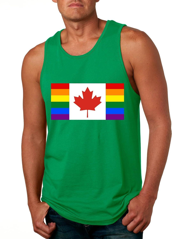 Allntrends Mens Tank Top Pride Rainbow Canadian Flag Top Canada Proud Gay
