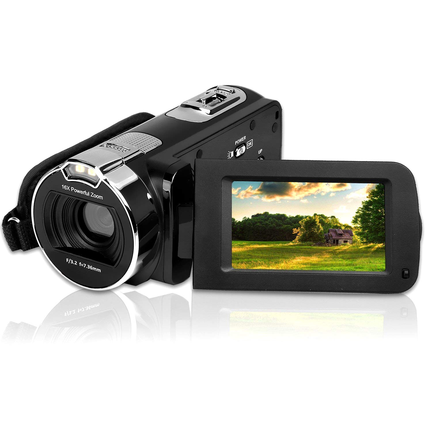 Video Camera Camcorder 24MP 2.7 Inch HD 1080P Digital Camcorder,16X Digital Zoom Camera Recorder with 270 Degrees Rotatable Screen Rechargeable Battery YouTube Vlogging Camera