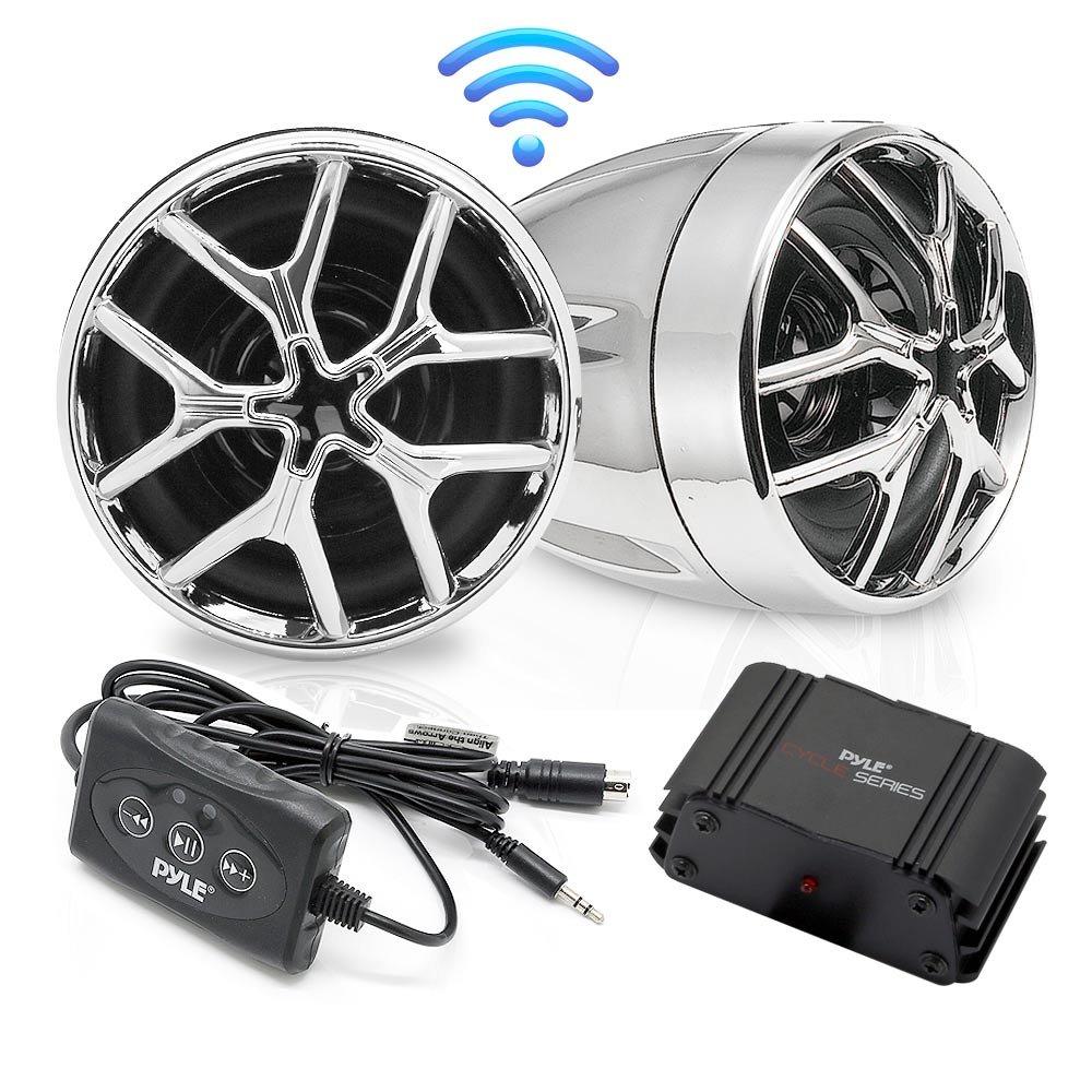 Pyle PLMCA51BT Bluetooth Weatherproof Speaker & Amplifier System, Water Resistant, Mobile Mountable Audio Streaming-Set of 2