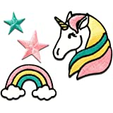 Parches - Set unicornio estrella arco iris - colorido - diferentes tamaños - by catch-the-patch® termoadhesivos bordados aplique para ropa