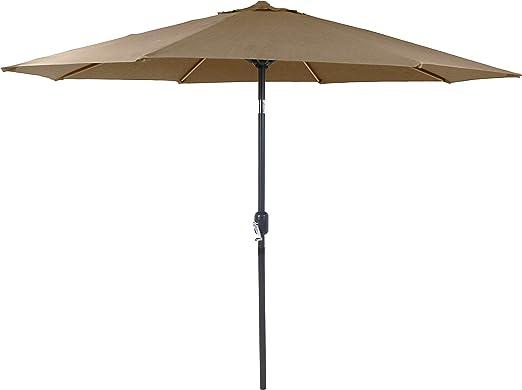 Charles Bentley Patio de Metal Jardín Paraguas Parasol en Topo de ...