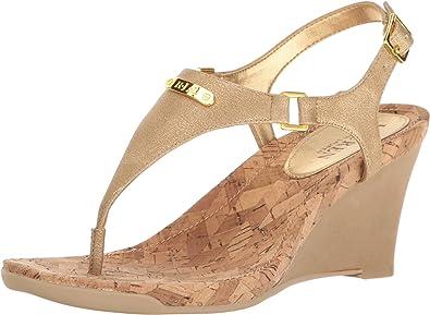 56ecf73704 Lauren Ralph Lauren Women's Nikki Gold Wedge: Amazon.co.uk: Shoes & Bags