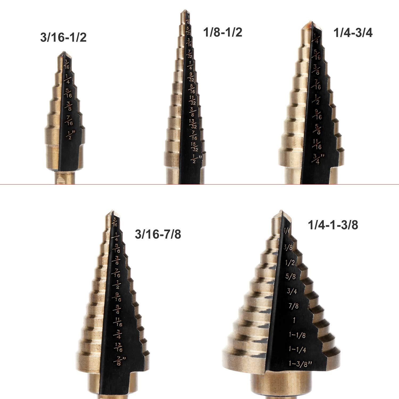 6PCS HSS Stahl-Stufenkegelbohrer-Set mit Geh/äuse Hochgeschwindigkeits-Stahl-Stufenbohrer mit direktem Nutgriff-Bohrlochschneider
