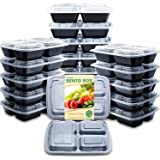 Enther Meal Prep Containers with Lids 20 Pack 3 Compartment Food Storage Bento Lunch Box BPA Free, Reusable, Microwave…