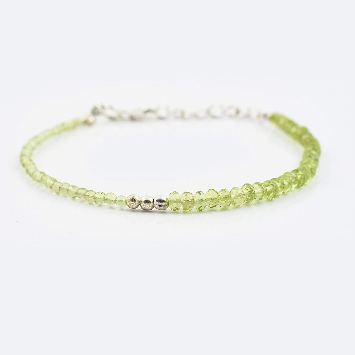 Peridot Rondelle Round Beads Bracelet with Sterling Silver finding 6.50' Gemstone Birthstone jewelry