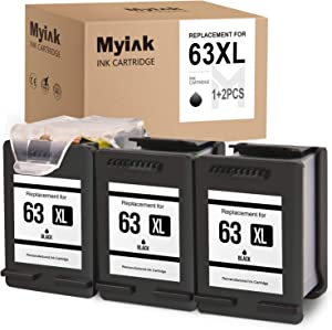 MYIK Remanufactured Ink Cartridge for HP 63XL 63 XL Eco-Saver to use with OfficeJet 3830 3831 4650 4655 Envy 4520 4516 DeskJet 1112 2130 2132 3630 3633 (1 + 2 Pack)