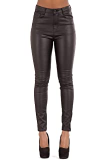 7e679a863f4a2 Ecupper Womens Faux Leather Look Trousers High Waisted Coated ...