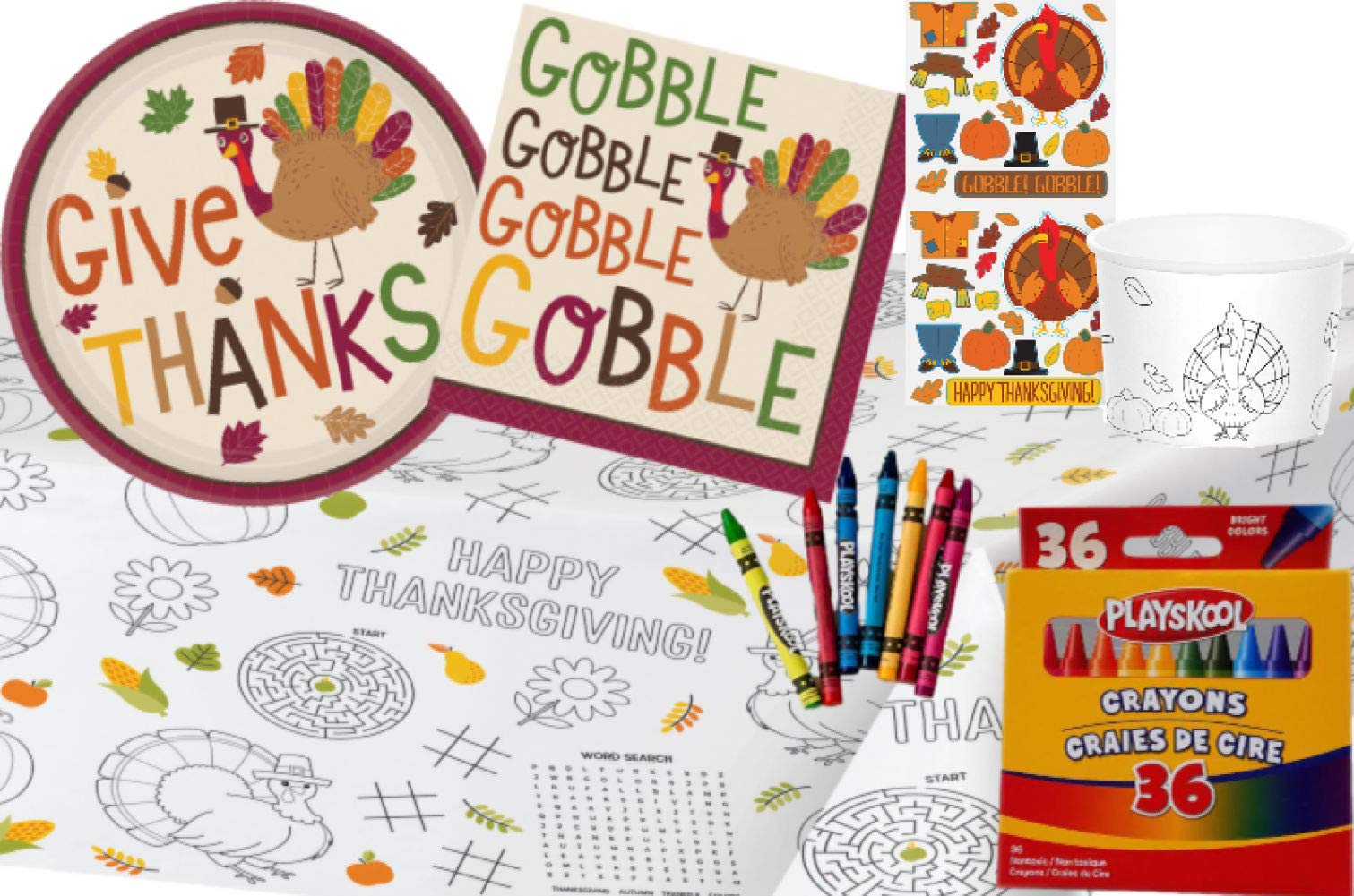 TLP Online Kids Thanksgiving Table Coloring and Activity Party Supply Pack: Bundle Includes Paper Plates, Napkins, Treat Cups, Playskool Crayons and Paper Activity Table Cover by TLP Online