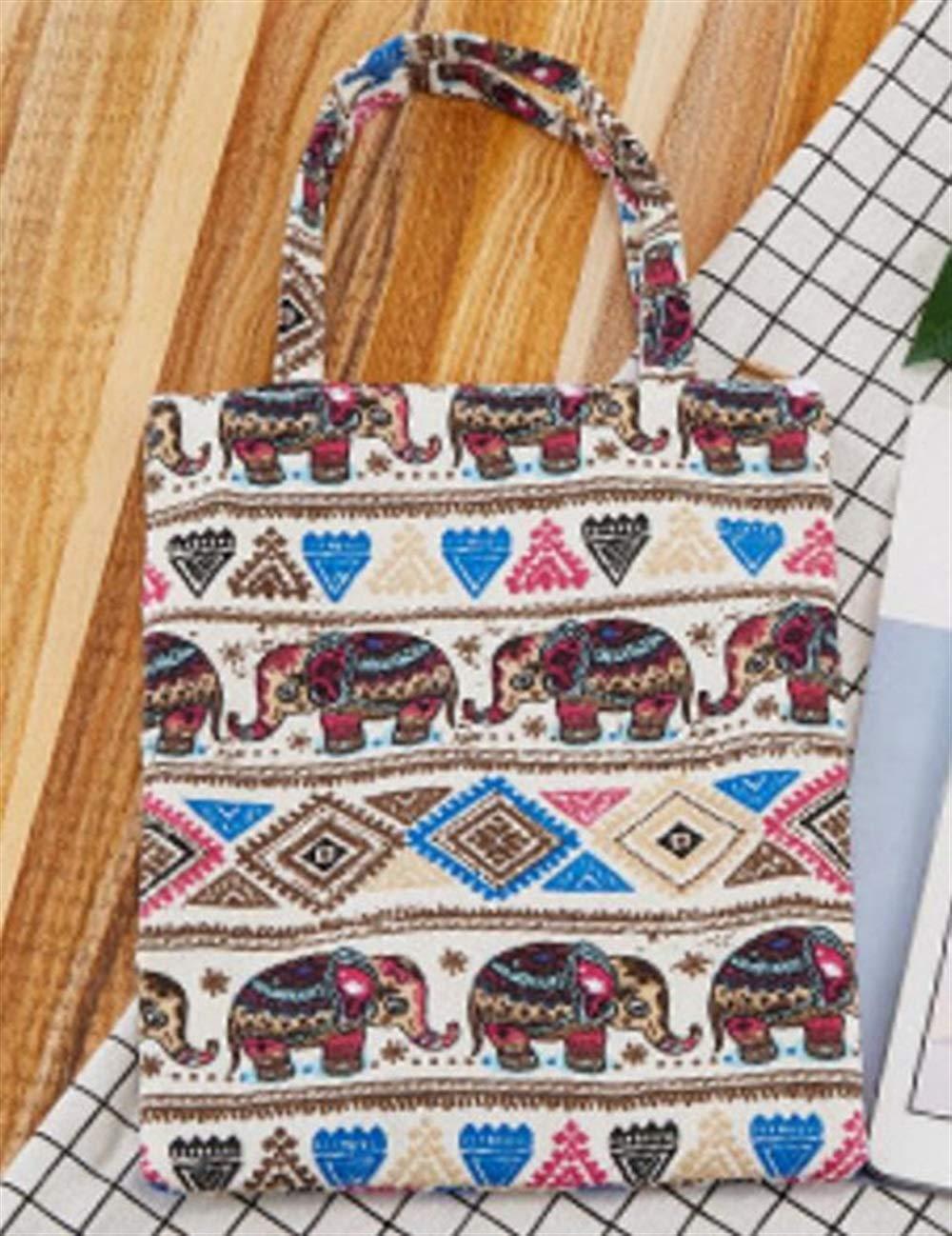 WHXYAA Elephant Printed Canvas Bag Shoulder Bag Tote Bag Ladies Large-Capacity Shopping Bag Environmentally Friendly Tote Bag