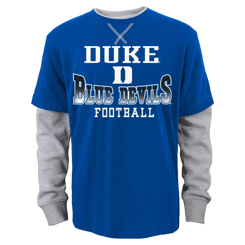 "DukeブルーDevils Youth NCAA""アーチ型Fade"" L/S Faux Layer Thermalシャツ Small  B011ATKPTU"