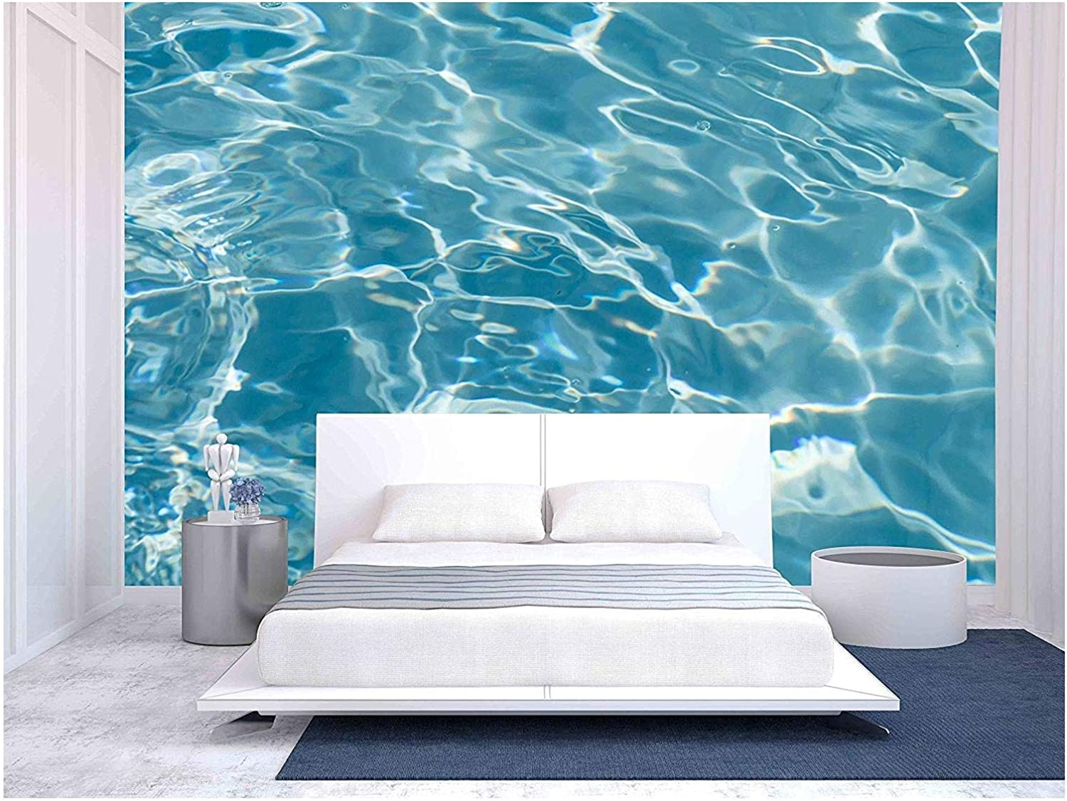 wall26 - Beautiful Pattern of Blue Water Reflecting The Sun. - Removable Wall Mural   Self-Adhesive Large Wallpaper - 100x144 inches