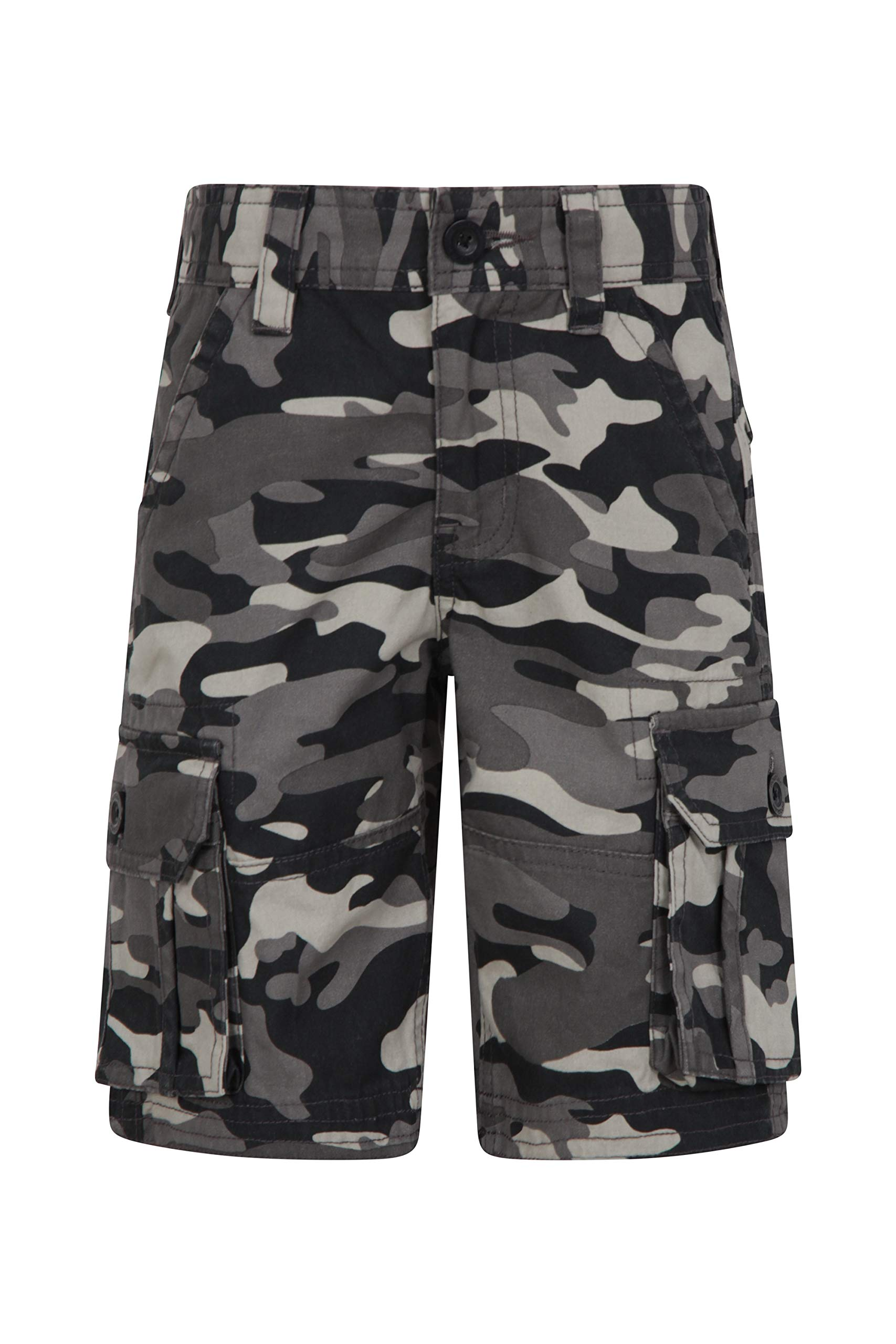 Mountain Warehouse Kids Camo Cargo Shorts - 100% Cotton Summer Pants Black 7-8 Years by Mountain Warehouse