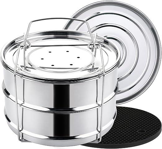 Amazon.com: Aozita - Sartén apilable para cocinar al vapor ...