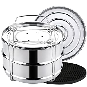 Aozita Stackable Steamer Insert Pans with Sling for Instant Pot Accessories 8 Quart - Food Steamer for Pressure Cooker Pot in Pot Cooking, Upgrade Interchangeable Lids Included