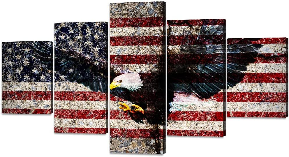 Vintage Bald Eagle USA US American Flag Painting on Canvas 5 PCS Eagle Morden Patriotic Thin Blue Red Line Flag Wall Art Pictures Print Artwork for Living Room Bedroom Home Decor Framed(60''W x 32''H)