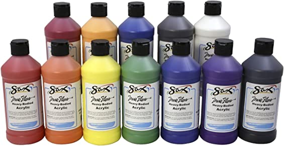 Sax 439304 True Flow Heavy Body Acrylic Paint - Pint - Set of 12 - Assorted Colors