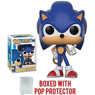 Funko Pop! Games: Sonic The Hedgehog - Sonic with Ring Vinyl Figure (Bundled with Pop BOX PROTECTOR CASE): Toys & Games