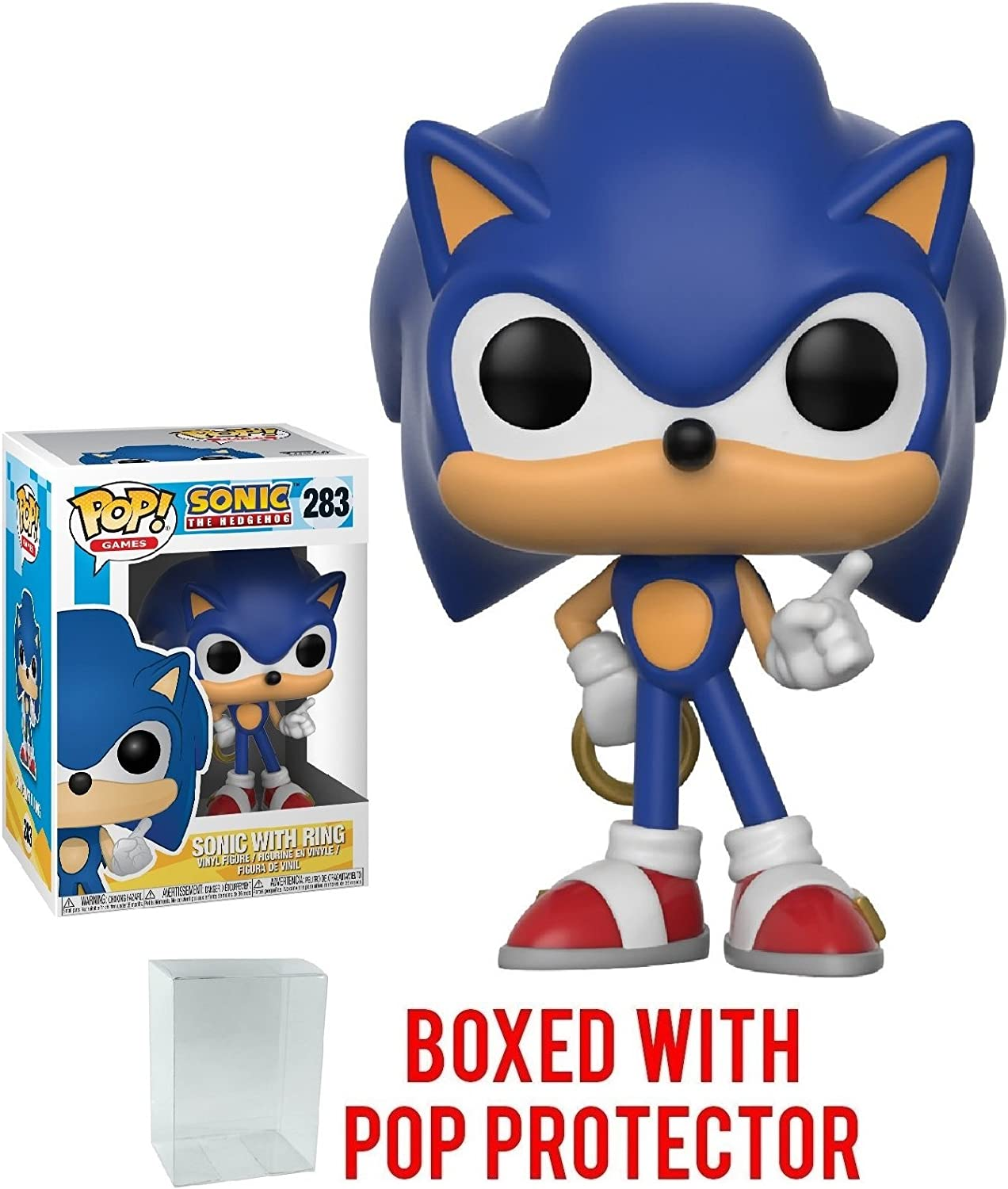 Amazon Com Funko Pop Games Sonic The Hedgehog Sonic With Ring Vinyl Figure Bundled With Pop Box Protector Case Toys Games