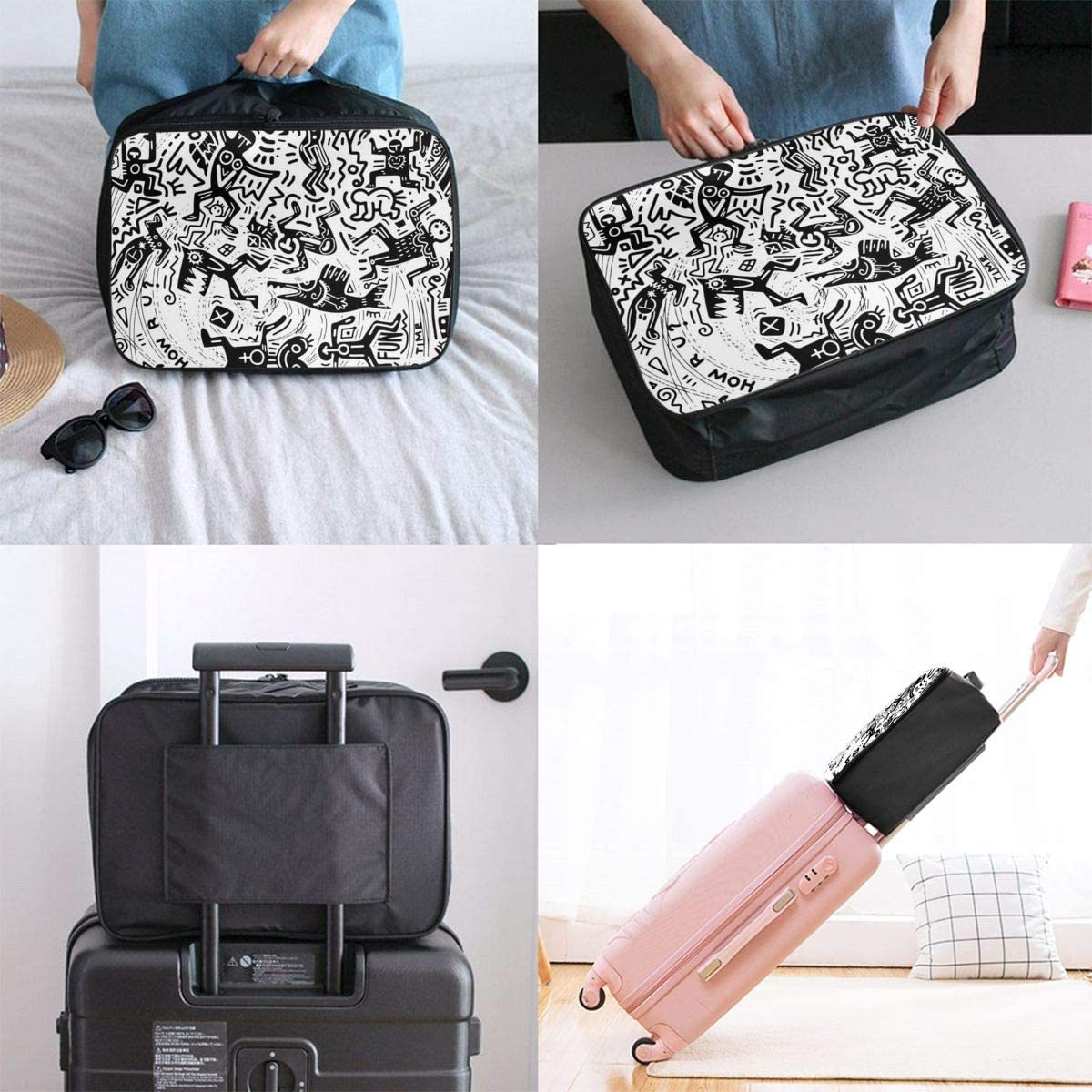 Crazy People City Psychedelic Doodles Lightweight LargeTravel Storage Luggage Trolley Bag Travel Duffel Bags Carry-On Tote
