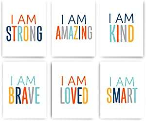 Designs by Maria Inc. Colorful Self Inspirational Wall Art Prints Motivational (Unframed) | Set of 6 (8x10) for Boys (Option 2)