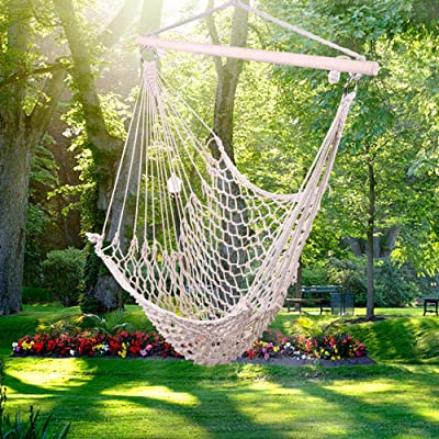 AQTQA Mesh Hammock Chair Cotton Weave, Hanging Rope Netted Soft Cotton Seat Porch Chair - Hanging Chair for Yard, Bedroom, Porch, Indoor/Outdoor (Beige) -250 lbs Weight Capacity: Garden & Outdoor