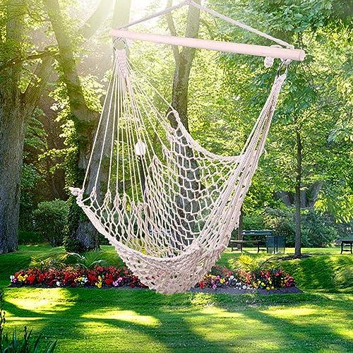Mssip Cotton Hammock Chair Hanging Rope Swing for Indoor, Outdoor, Garden, Patio, Porch, Yard, 250 Lbs Capacity, Beige