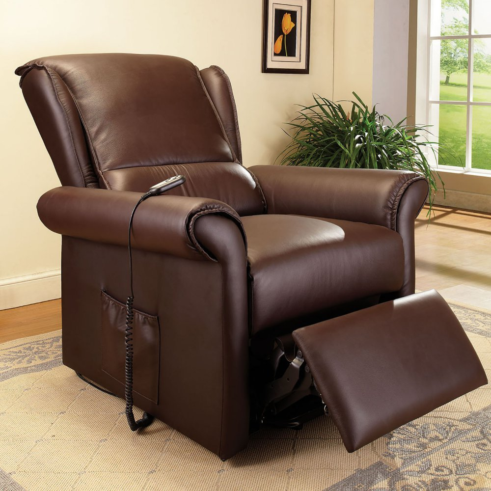 ACME Furniture 59169 Emari Recliner with Power Lift & Massage - Dark Brown PU