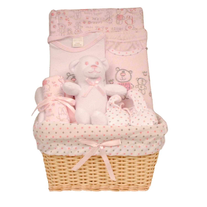 pantalones patucos y pa/ño para lactancia babero Cesta de beb/é para regalo con juguete body Bee Bo rosa rosa 3 mes 0//–/3/meses