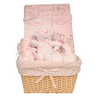 Bee Bo - Cesta de bebé para regalo con juguete body, pantalones, babero, patucos y paño para lactancia(0 – 3 meses) rosa rosa 3 mes