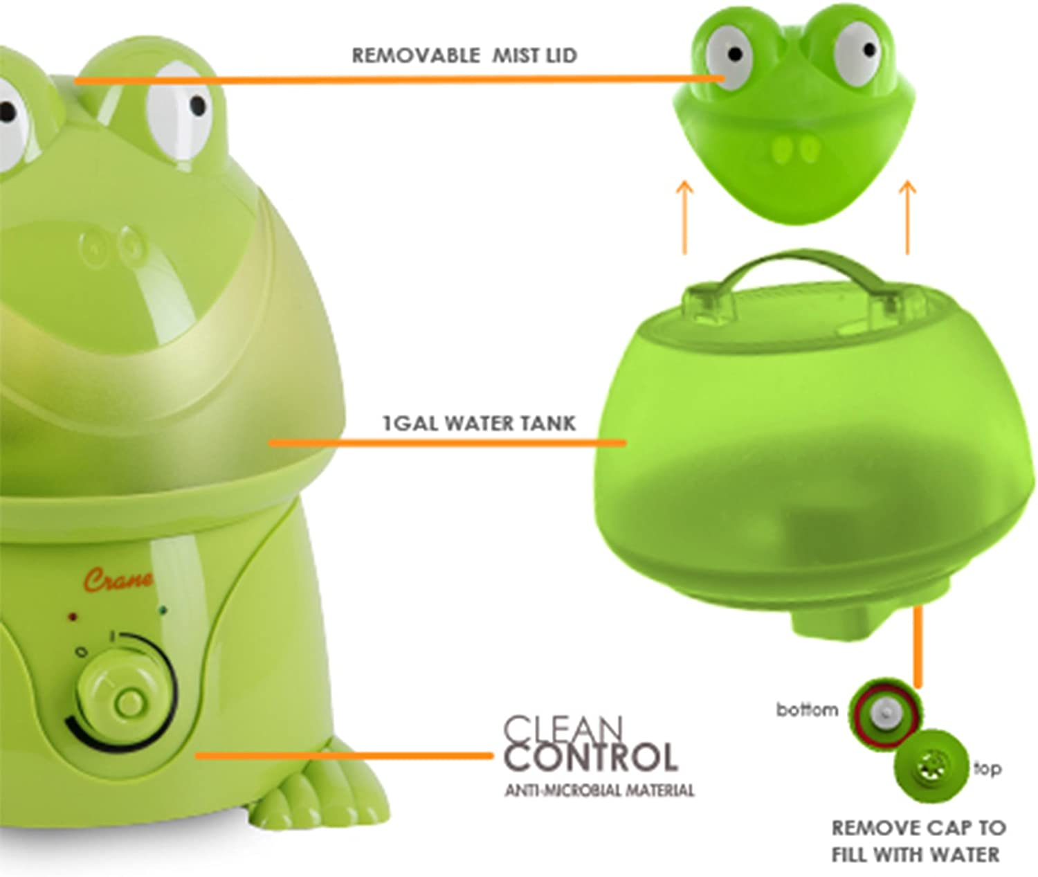 Crane Adorable Ultrasonic Cool Mist Humidifier with 2.1 Gallon Output per Day Frog
