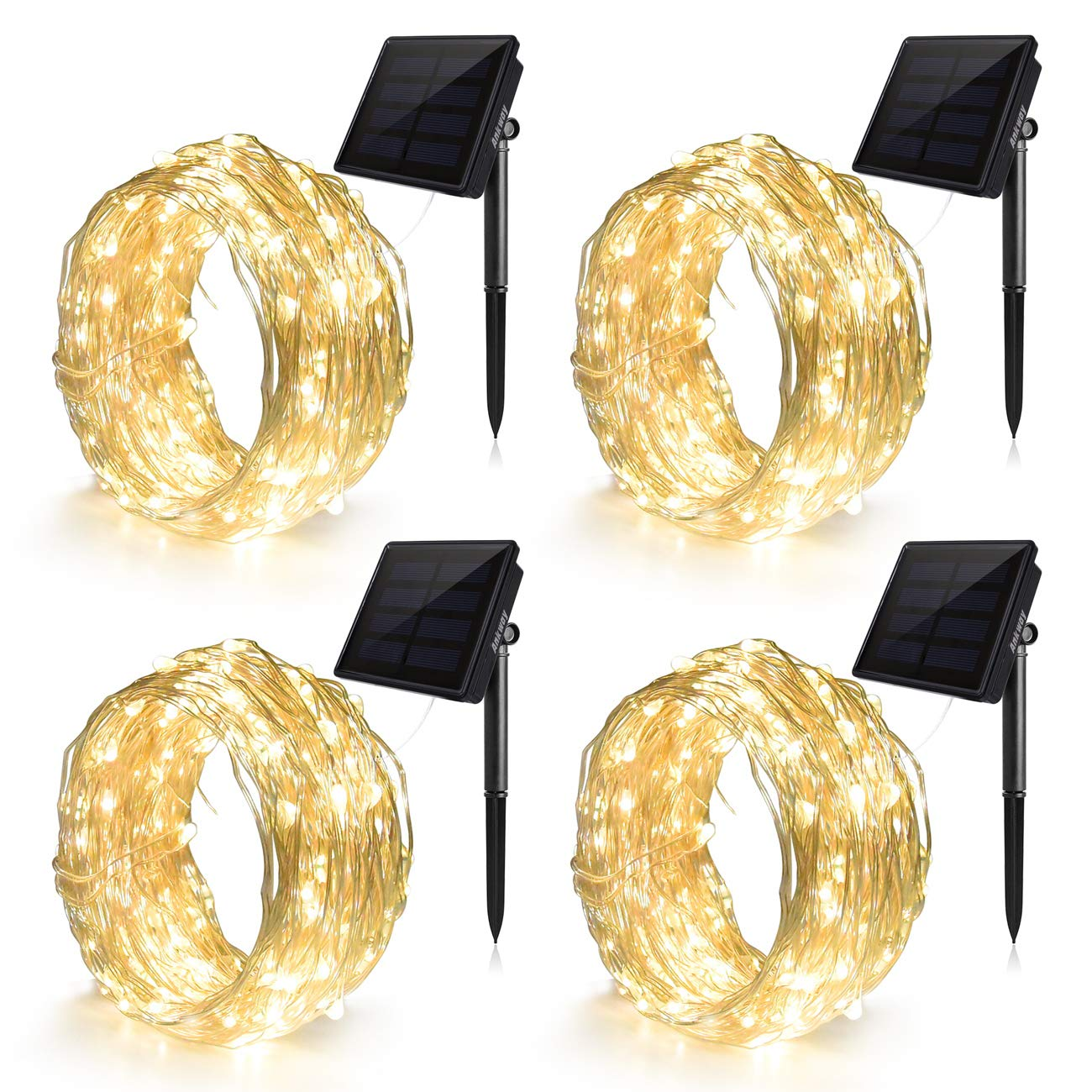 Set di 4 catene luminose con 100 LED da 12 metri ad energia solare