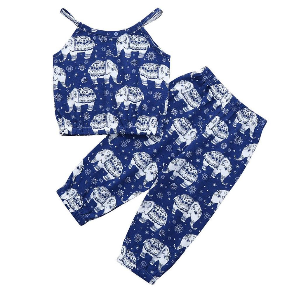 Pants 2pc Clothing Set Outfits Kehen Kid Toddler Baby Girls Summer Clothes Cartoon Elephant Print Strap T-Shirt Tops