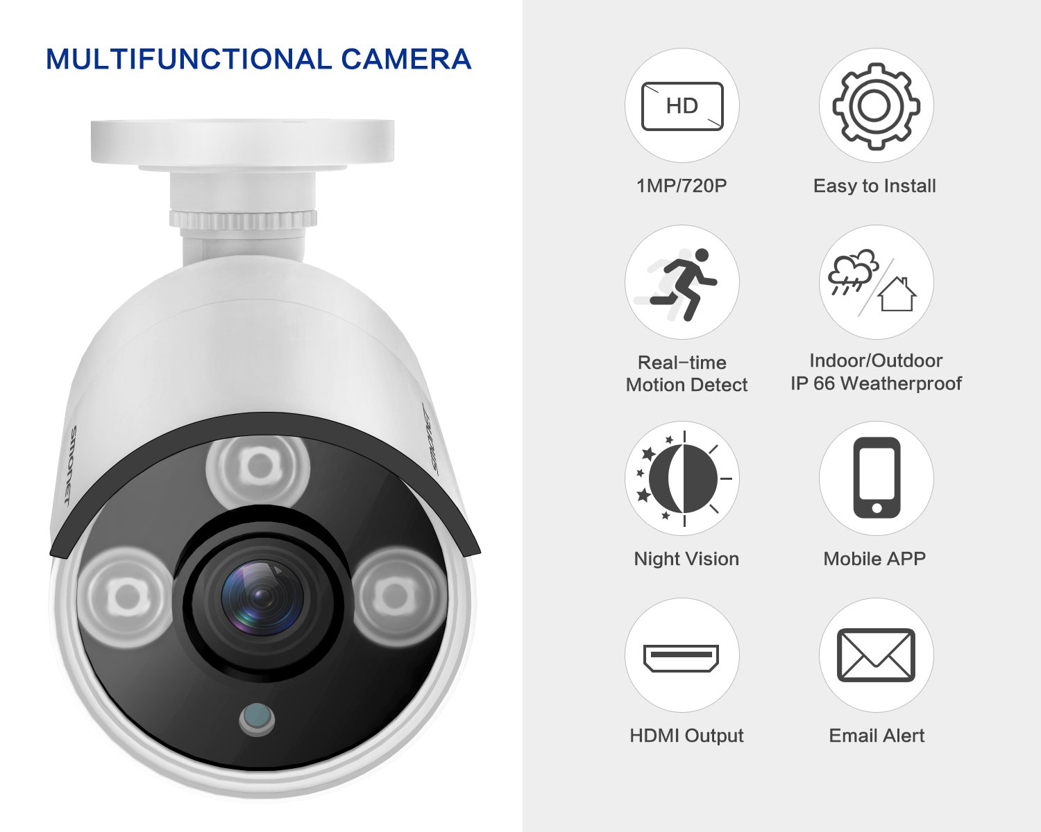 720P Wired Camera,SMONET 720P CCTV Camera, Waterproof Outdoor Indoor Bullet Camera with 3.6mm Lens High Resolution IR Cut 65Ft Night Vision,3pcs IR-LED Lights, No Power Supply